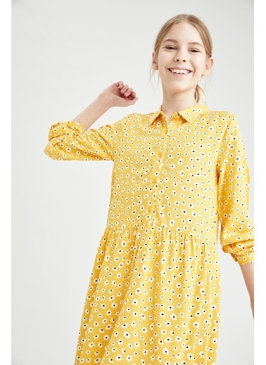 DeFacto Kız Çocuk  Çiçek Desenli Gömlek Yaka Elbise Sarı